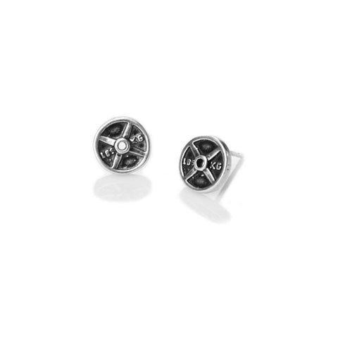 Mini Weight Plate Earrings (sterling silver studs)