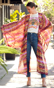 Sunset Water Color Kimono By Jennafer Grace