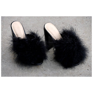 Feather Black Mules