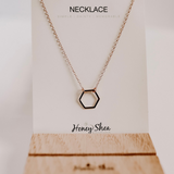 rose gold dainty hexagon necklace