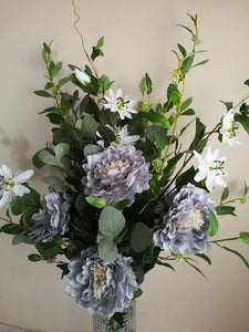 Blooming Essentials Ltd Artificial Mia Grey Peony & Passion Flower Arrangement