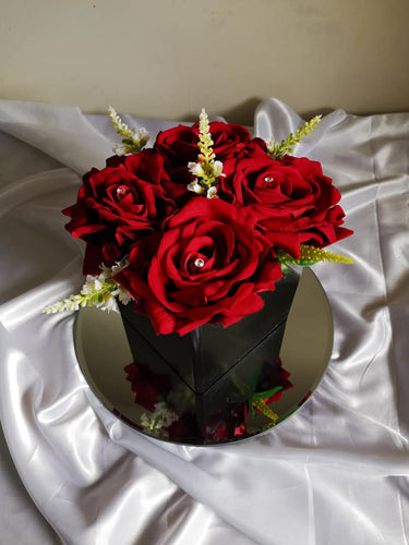 Blooming Essentials Ltd Artificial Luxury Red Velvet Rose Box Display