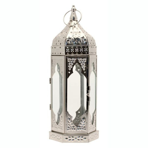 Blooming Essentials Ltd Artificial Silver Moroccan Lantern