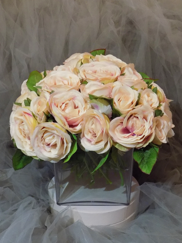 Blooming Essentials Ltd Artificial Rose-filled Acrylic Square Vase