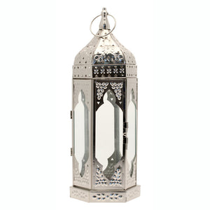 Blooming Essentials Ltd Artificial Large Silver Moroccan Lantern