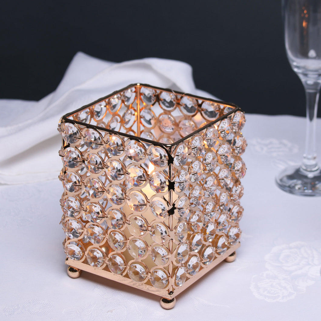 Blooming Essentials Ltd Artificial Gold Crystal Candle Holder