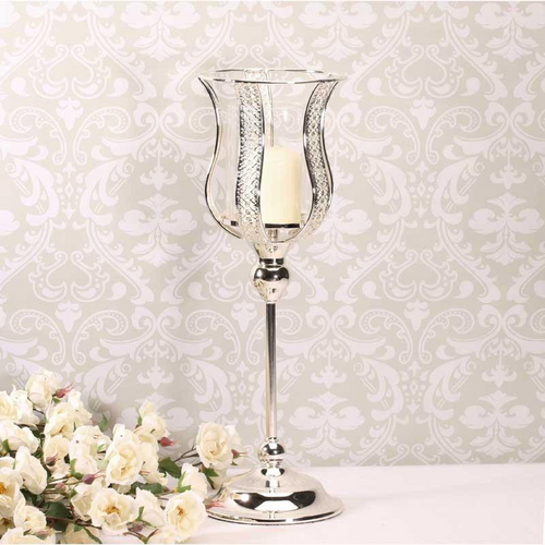 Blooming Essentials Ltd Artificial Silver Tall Glass Candle Holder