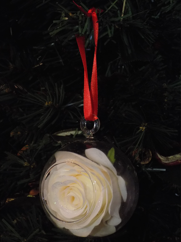 Blooming Essentials Ltd Artificial Iridescent Glitter Ivory Rose Bauble