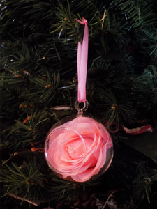 Blooming Essentials Ltd Artificial Peach Pink Rose Bauble