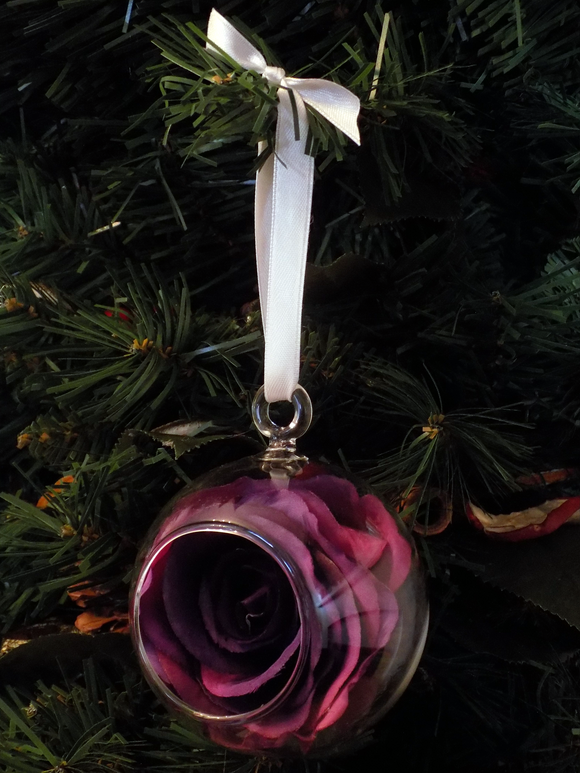Blooming Essentials Ltd Artificial Purple Rose Bauble