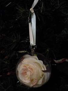 Blooming Essentials Ltd Artificial Rose Gold Glittered Ivory Rose Bauble