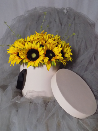 Blooming Essentials Ltd Artificial Sunflower Hat Box