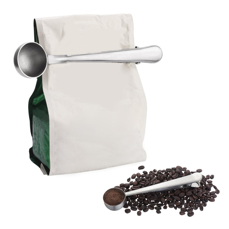 Stainless Steel Grounds, Bean, or Tea Leaf Scoop With Bag Clip