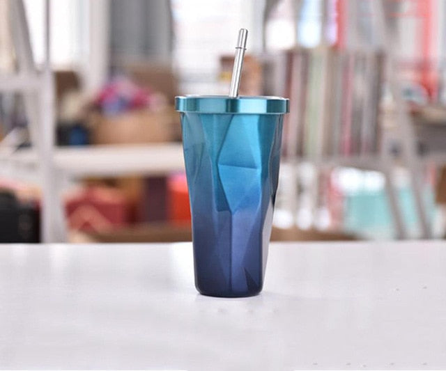 16oz Colorful Fading Diamond Cup With Reusable Straw