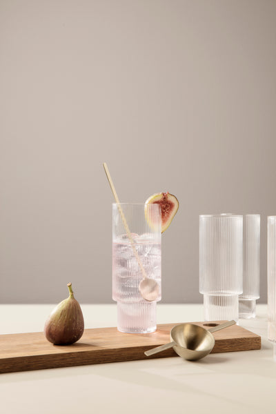 Ripple Long Drink Glasses - Set of 4, Accessory Glassware, Ferm Living, Places and Spaces Design Ltd