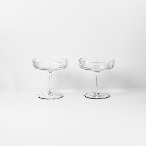 Ripple Champagne Saucers, Accessory Glassware, Ferm Living, Places and Spaces Design Ltd