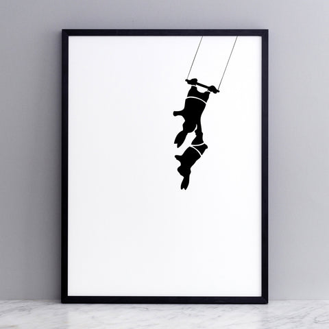 Trapeze Rabbit Print, Accessory Print, Ham Made, Places and Spaces Design Ltd