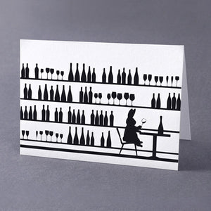 Wine Tasting Rabbit Card, Accessory Greeting Card, Ham Made, Places and Spaces Design Ltd