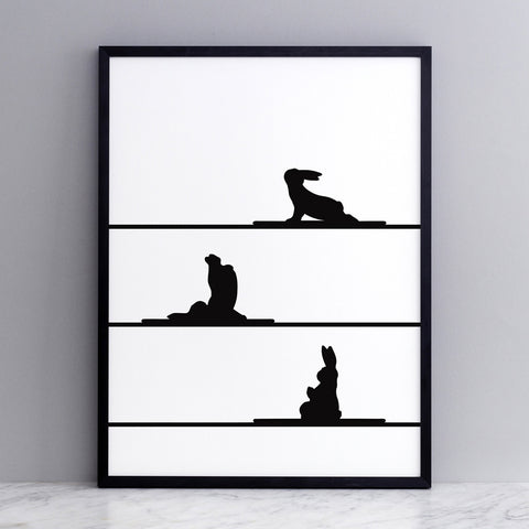 Yoga Rabbit Print, Accessory Print, Ham Made, Places and Spaces Design Ltd