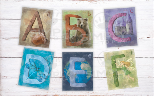 Alphabet Cards Watercolor Printable PDF For Waldorf Montessori Classrooms Homeschool Education ABC