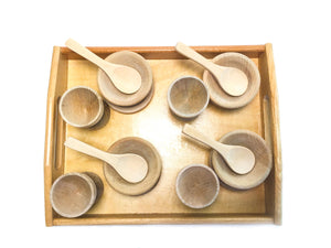 Montessori Toys for Toddlers | Wooden Play Kitchen Tools | Dishes, Cups, Plates and Spoons [Set of 16]