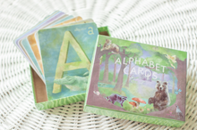 "Load image into Gallery viewer, Large Alphabet Flash Cards, Nursery Wall Cards, Flash Cards, ABC Art Cards, Montessori Toy, Waldorf Classroom, Homeschool, 4x5"" Gift Box"