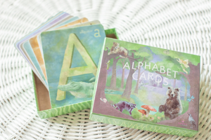 "Large Alphabet Flash Cards, Nursery Wall Cards, Flash Cards, ABC Art Cards, Montessori Toy, Waldorf Classroom, Homeschool, 4x5"" Gift Box"