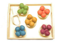 Load image into Gallery viewer, Montessori Toys - Toddler Sensory Bin Scoop Tray - Handmade New Zealand Wool Transfer Balls [32 PCS]