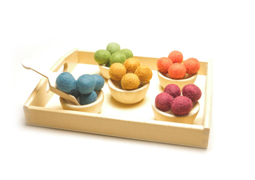 Montessori Toys - Toddler Sensory Bin Scoop Tray - Handmade New Zealand Wool Transfer Balls [32 PCS]