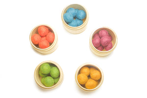 Toddler Toys Sensory Boxes With Handmade New Zealand Wool Transfer Balls [40 PCS]