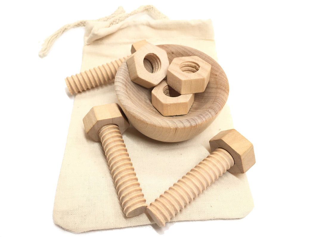 Montessori Toy Wooden Nuts and Bolts With Wood Cup