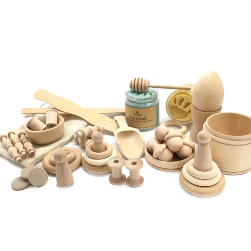 Natural Playdough Kit - Montessori Waldorf Wooden Kit - SimplytoPlay