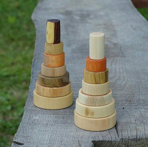 Stacking Pyramid - Various Breeds of Beautiful Wood - Montessori Waldorf Toys - SimplytoPlay