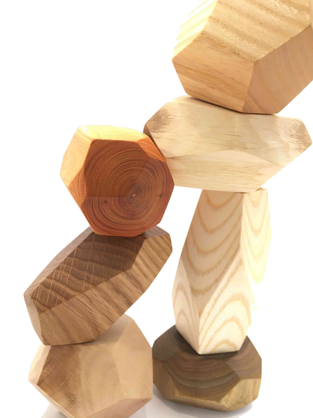 Tumi Ishi Wood Balancing Stacking Stones - Different Breeds of Wood Set of 7 - Montessori Toys - SimplytoPlay