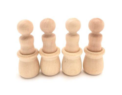 Wooden Peg Dolls in Bean Pots - Set of 4 - SimplytoPlay