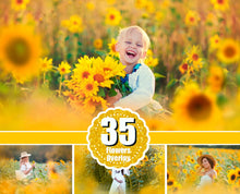 Load image into Gallery viewer, 35 Sunflower Photo Overlays, flower summer spring overlays, digital backdrop, digital background, Photoshop Mix overlay, art frame, png file