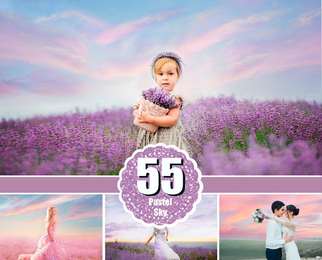 55 pastel romantic sky photo Overlays, beautiful skies, clouds effect, realistic nature dreamy sky, beach, Digital backdrop, jpg file