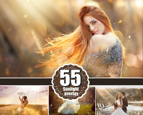 55 natural sun light effects, Photoshop Overlays, sunlight, sun lens, sun rays, sunlight rays, Digital Backdrop background, jpg png file