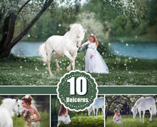 Load image into Gallery viewer, 10 Majestic unicorn horse overlays, realistic animal, white horse, Photoshop overlay, fantasy, magic, fairy, star Digital Overlays, png