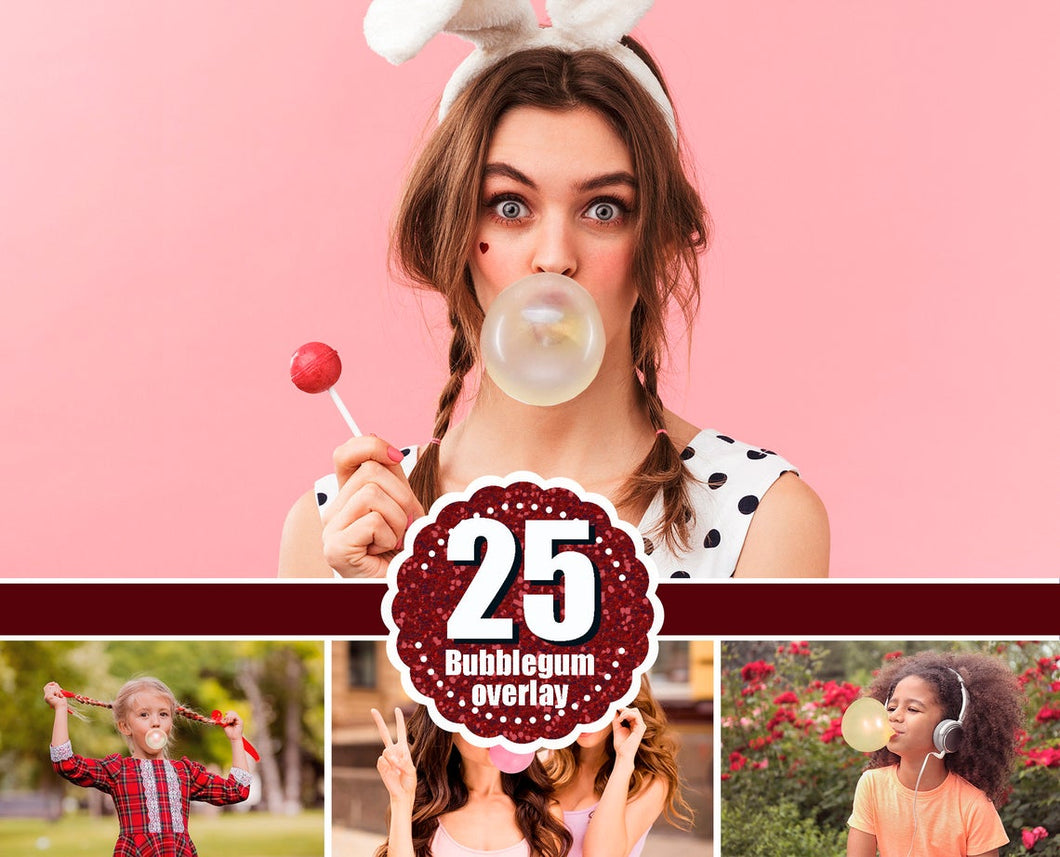 25 Bubblegum Bubble gum, Photo Overlay, Photoshop Overlays, Color Gum, Blowing Bubbles Gum, ClipArt, Clip Art, Digital Background png