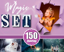 Load image into Gallery viewer, 150 Magic set, light, sun, fairy dust, fairy pixie, stars, shine effect, butterfly, string lights, wing, bokeh, Photoshop Mix Overlays png