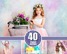 Load image into Gallery viewer, 40 Pastel Fine Art textures, Photoshop Overlays, Digital Backdrop, pastel, spring, summer, watercolor, vintage, romantic texture, jpg