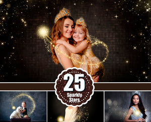 25 Sparkle stardust photo overlay, magic Wand Photoshop overlay, Golden glitter, Gold Stars, light shine effect, bokeh, fairy dust, png