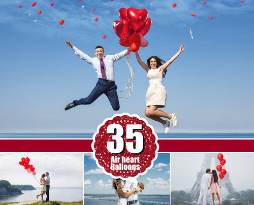 35 Heart balloons photo overlays, valentines Photoshop overlays, love and wedding romantic overlays, valentines overlays, png file