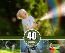 Load image into Gallery viewer, 40 rainbow Photo Overlays, Photoshop Mix overlay, bokeh overlay, sky, summer, rain and sun effect, colorful, chasing rainbows, png file