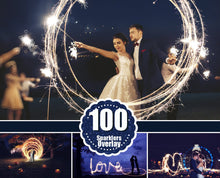 Load image into Gallery viewer, 100 Wedding Sparklers Photoshop Overlays, Light painting words, Freezelight Effect, Digital Download, long exposure sparklers jpg file