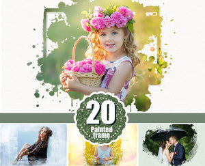 20 Beautiful portrait paint masks, photo frame, Photoshop overlay, clipping mask, photo mask, water color effect, fine art, png file