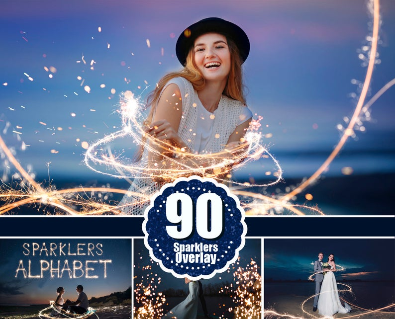 90 Sparklers alphabet, Photoshop overlays, long exposure layer, Light painting, Digital backdrop, wedding christmas night, sparkler