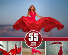 Load image into Gallery viewer, 55 Flying fabric dress Photo Overlays, Photoshop Mix Overlay, flowing cloth wave, silk waving flying satin, wedding, digital backdrop png