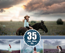 Load image into Gallery viewer, 35 Rain storm dark sky Photo Overlays, beautiful realistic nature dramatic lightning sky skies, Digital background, Photoshop Mix jpg